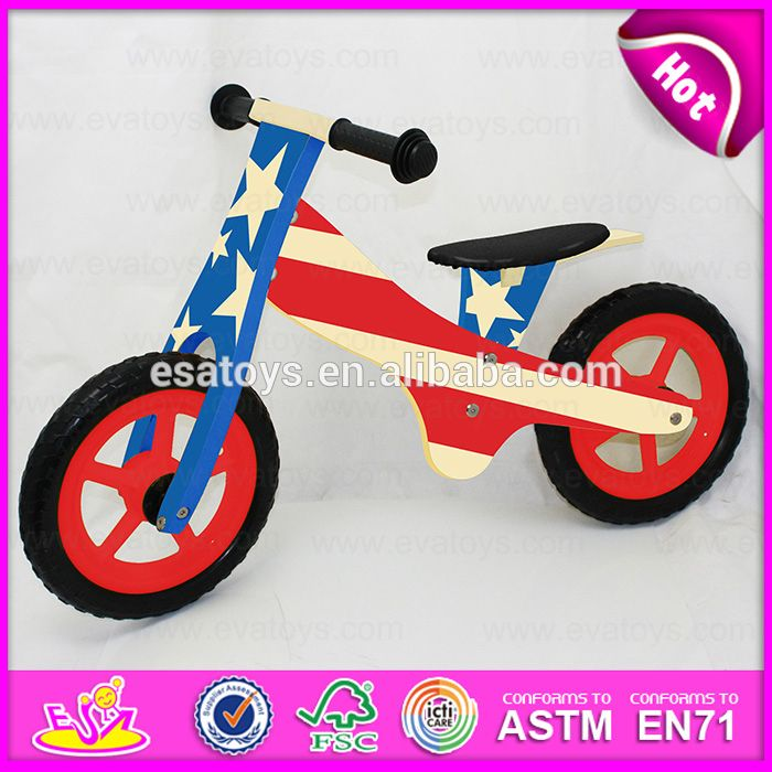 """12 inch plywood waterbase painting Kids Sports Wooden Bicycle,Modern wooden walking kids balance bicycle W16C116"""