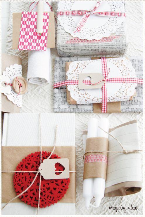 japanese newspaper, red ribbon, kraft paper, twine: Kraft Paper, Doilies, Packaginggift Wraps, Care Packaging, Gifts Wraps, Pretty Packaging, Wraps Gifts, Christmas Wraps, Wraps Ideas