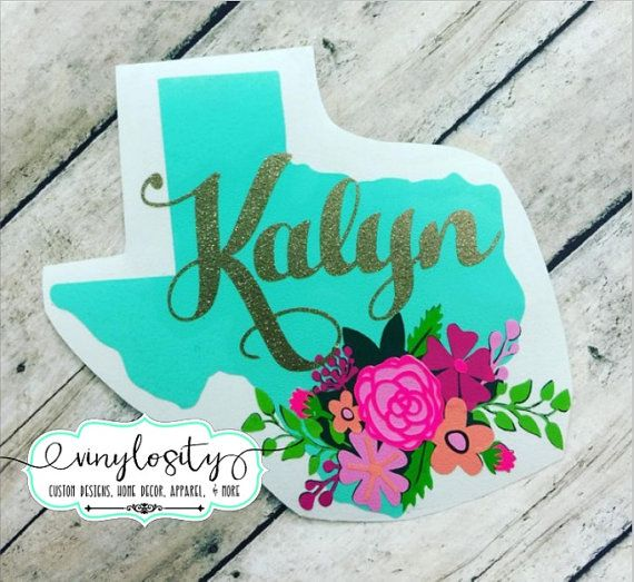 Personalized Floral Texas Decal | Texas Yeti Decal | Texas Car Decal | ALL STATES AVAILABLE