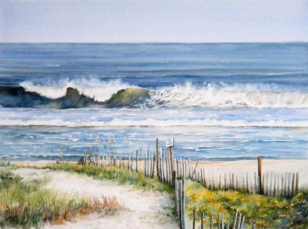 Seascape Watercolor Painting Of Beautiful Beach At Sunset Stock ...