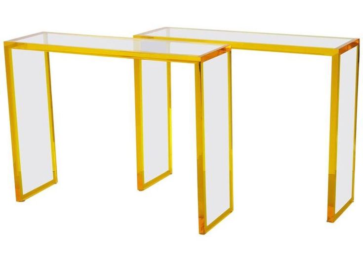Custom yellow and clear Lucite consoles, offered by Modern Epic Antiques