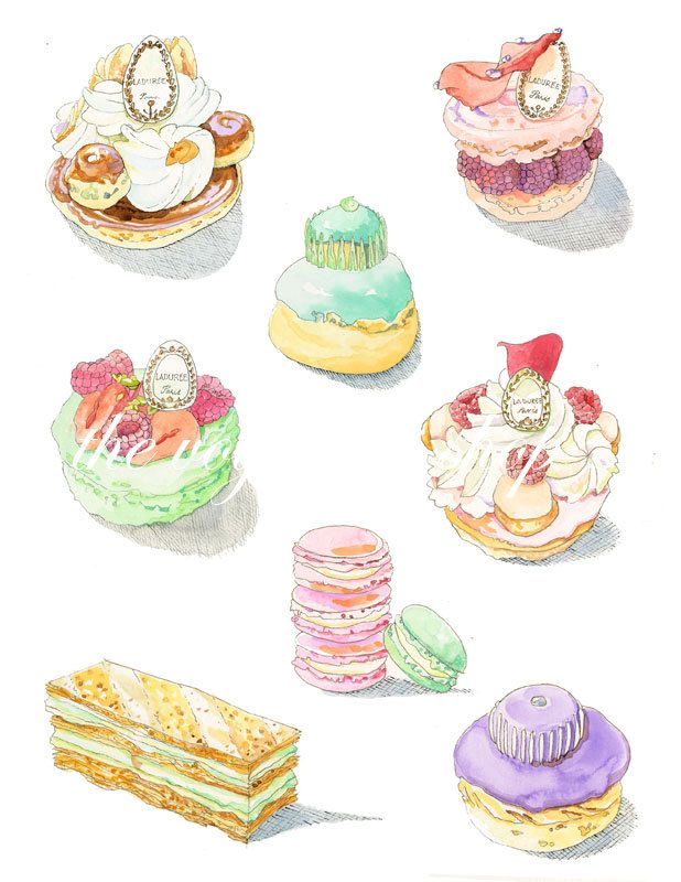 An Embarrassment of Riches, Laduree pastry watercolor print 8.5 x 11. $25.00, via Etsy.