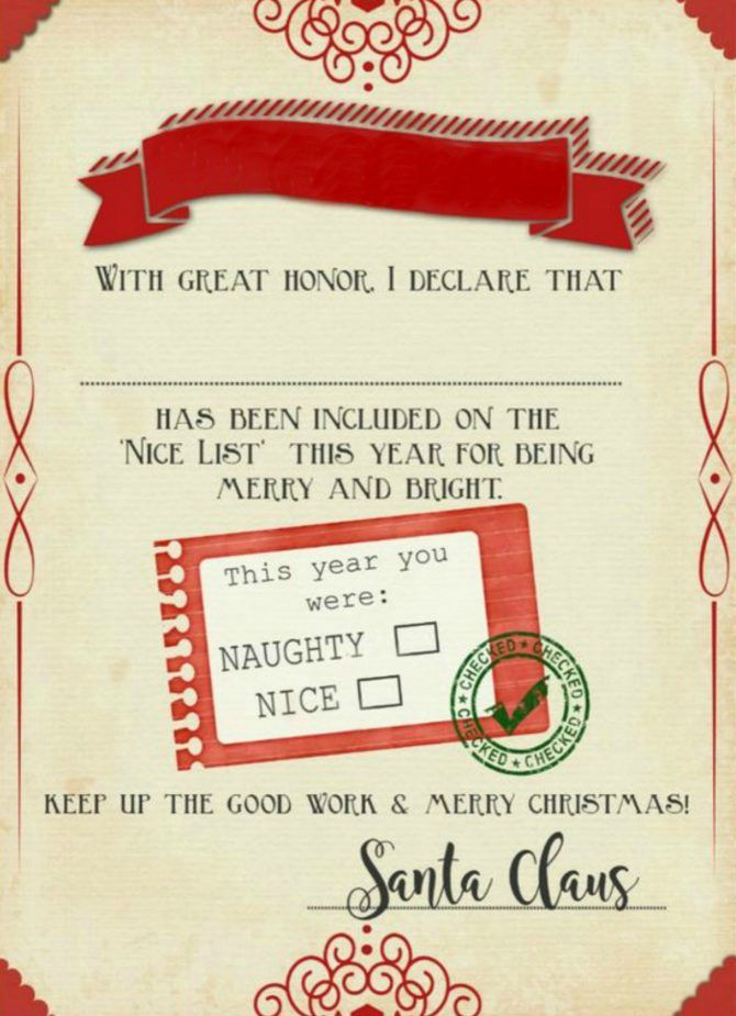 Such a cute naughty or nice free printable certificate. Send this to a child before Christmas, their own nice certificate, signed by Santa himself! Love this naughty or nice free printable certificate from Santa Claus!