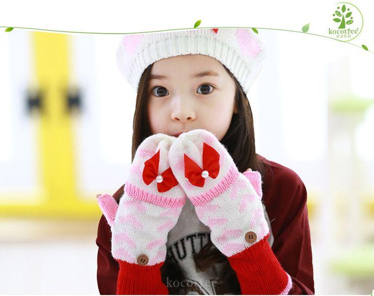 Корея kocotree дочь детские перчатки крышка зимние модели симпатичный кролик волосы вязание детские руки крышка принцесса теплый перчатки - Alishop.kz