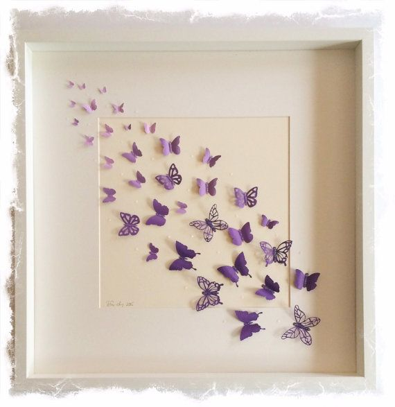 Handcrafted 3D papercut Ombre Butterflies - Large Shadow box frame