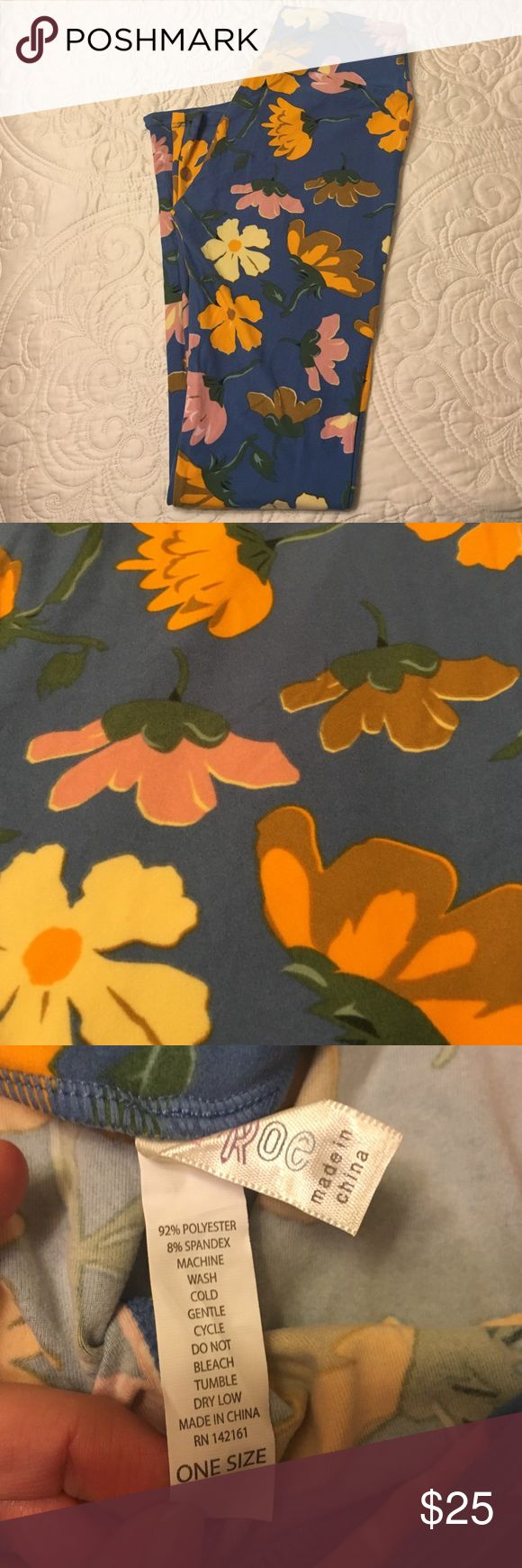New OS Blue Floral Leggings Lovely Orange, Tan, Pink, and Yellow leggings. New! The consultant that I bought them from did not include a tag. Perfect for spring! ☺🎉 LuLaRoe Pants Leggings