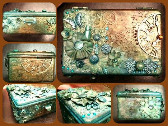 950 best altered cigar boxes boxes images on pinterest for Cardboard cigar box crafts