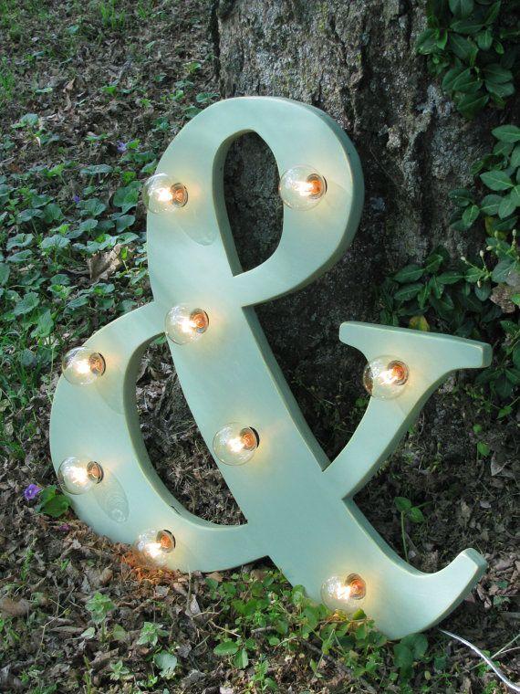 "24"" Wood letter light, wedding decor, distressed, vintage chic, home decor. $125.00, via Etsy."