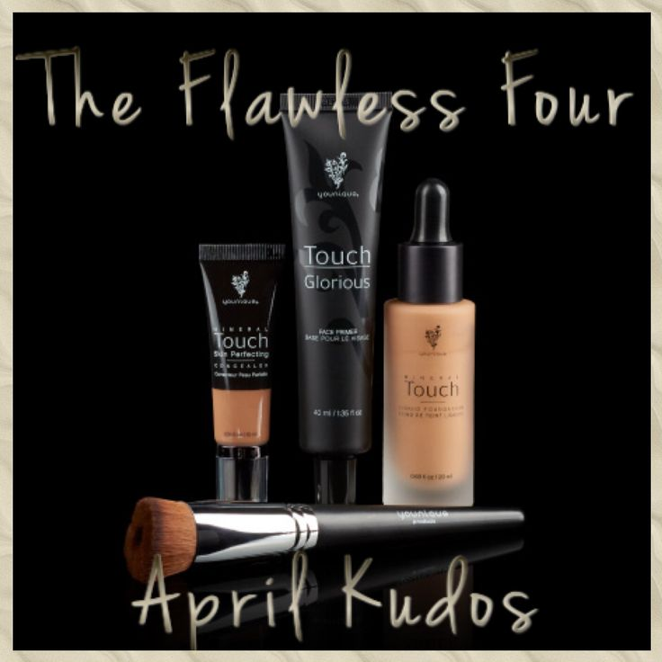 April Kudos! Incredible products - Touch Mineral Liquid Foundation, Touch Mineral Skin Perfecting Concealer, Glorious Face Primer & Liquid Foundation Brush