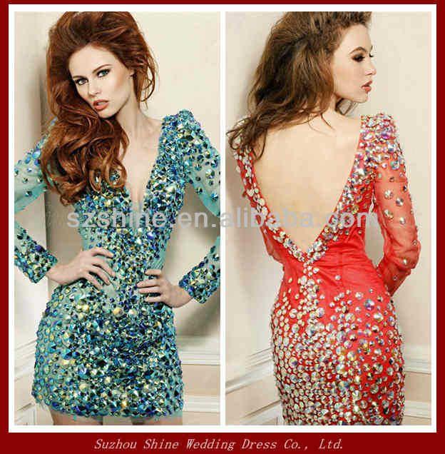 YCD10042 Shining beaded long sleeve short bling bling knee length short chiffon cocktail dresses 2014