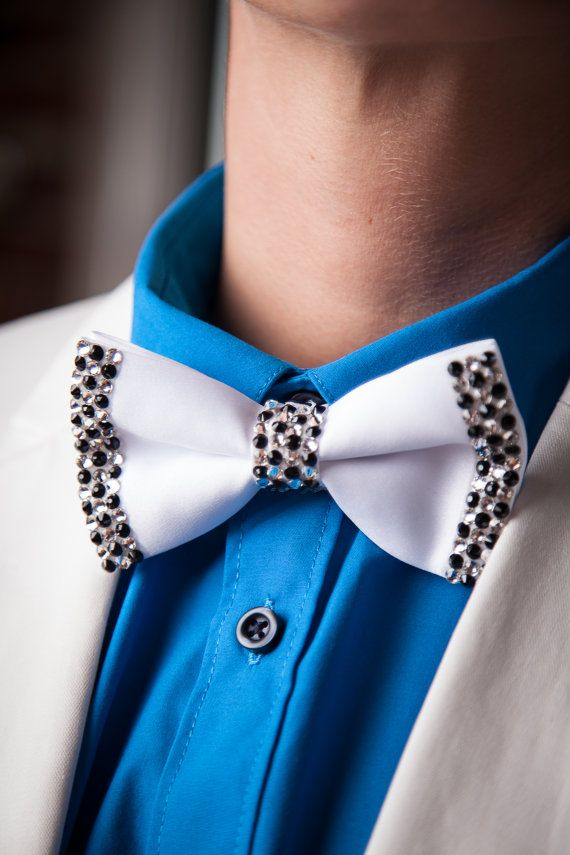 The Checkerboard Tie: White Satin Bowtie with Crystal and Black Swarovski Rhinestones