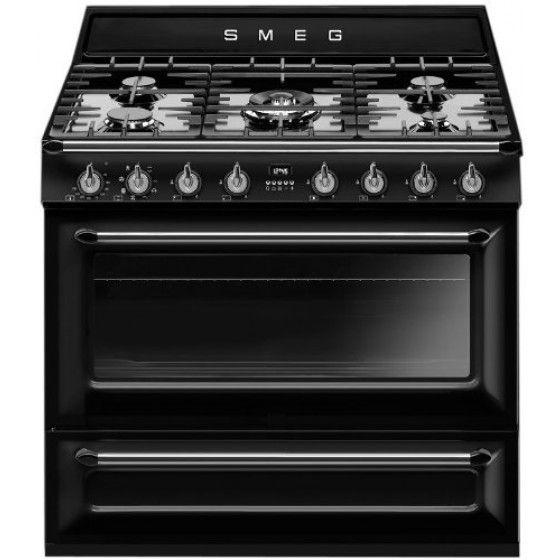 Smeg 90cm 126L Dual Fuel Freestanding Oven/Stove TRA90BL
