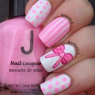 Pink bow, stripes and polka dots