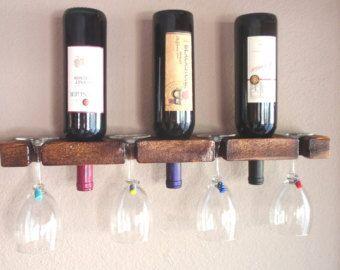 Wood Wine Rack Wall Mounted Wine and Glass Rack di AdliteCreations