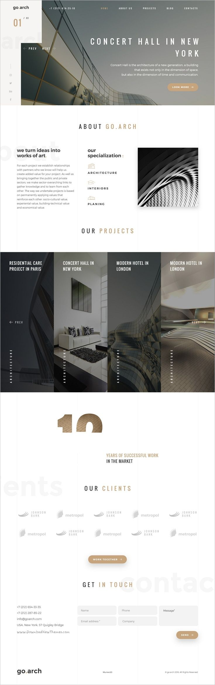 go.arch is a luxury, elegant and trendy #WordPress template for #architecture buerau, #interior design and other corporate or creative websites designed in two color styles: dark