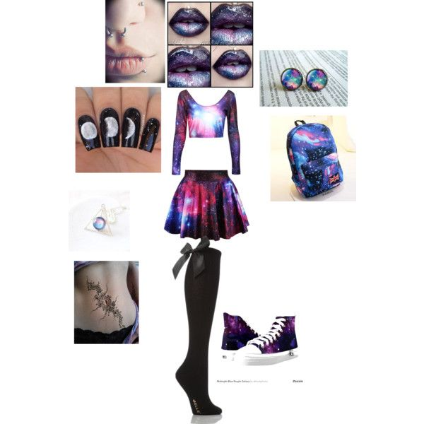 Cute Galaxy Outfit by beccachanmint on Polyvore featuring Crystal