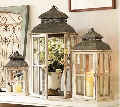 PARK HILL WINDOWFRAME LANTERNS ~ Set of Three~ Candle Holders Pottery Barn