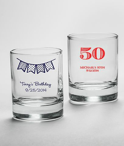50th birthday shot glass/candle holder favors.