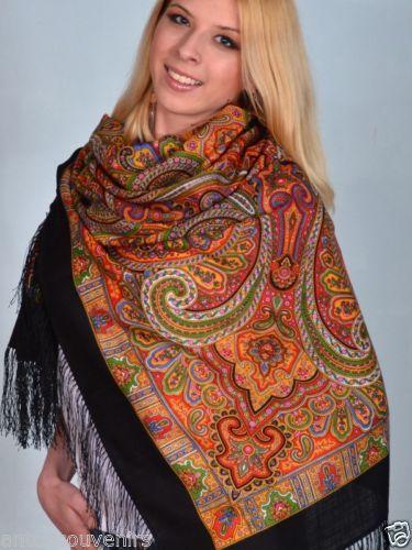 "Russian Pavlovo Posad shawl scarf 125 x 125cm(49x49"") (NOT A FAKE SIZE 120cm)100% wool, 100% silk fringe  A LA RUSSE #ALARUSSE #russianshawl #pavlovoposad #shawls #fashion #russianscarf"