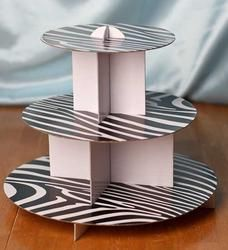 Zebra Print Three Tier Cardboard Cupcake Stand - Cake - Cupcake Accessories - Party Supplies - Party & Special Occasions