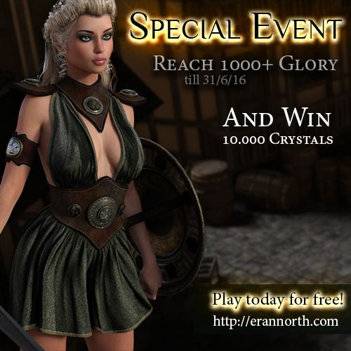 You read correctly. Reach 1000 Glory by the end of June and earn 10.000 Crystals! That's enough Crystals for you to update your VIP from 0 to 4 (or more if you already have some VIP upgrades)…
