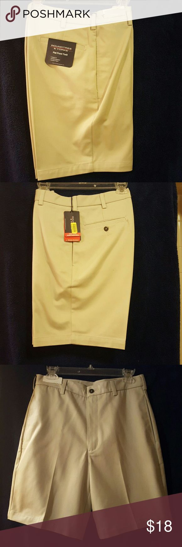 NWT Men's Dress Shorts NWT Men's dress shorts. Two buttons on back side pockets. Easy care wrinkle free 100 % cotton. The shorts are tan and not yellow. The photo color is not the color. Roundtree & Yorke Shorts