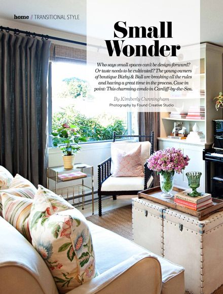 San Diego Magazine | March 2013 - Laal Pillows by John Robshaw, John Robshaw Prints by John Robshaw, and Johns apartment on the cover of ELLE Décor are shown in the living room of @Bixby & Ball co-owner, Betsy Braken. http://www.sandiegomagazine.com/currentissue/