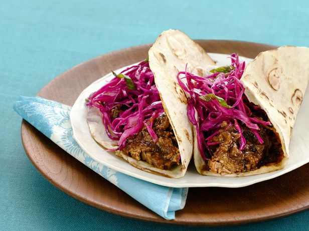 Brisket Tacos with Red Cabbage from #FNMagAlex Guarnaschelli, Food Network, Cabbage Recipes, May 5, Red Cabbages, Brisket Tacos, Food Recipe, Cabbages Recipe, Tacos Recipe