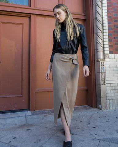 #Nanushka MUSE - Wrap front pencil skirt - Camel