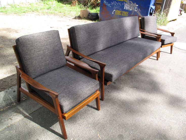 Danish Deluxe Lounge Suite Sofabed Couch Armchairs   This suite is being covered in a quality black 100% wool fabric. Quotes available on request. The suite pictured is one we sold and restored last year. It features a restored hardwood frame, new quality foam cushions, new back webbing, felt lining and new commercial grade fabric by a quality maker