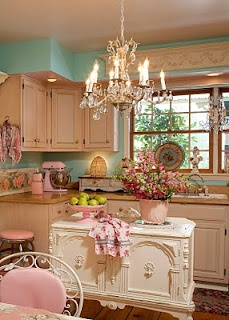 white and turquoise kitchen, chandy, vintage buffet used as island