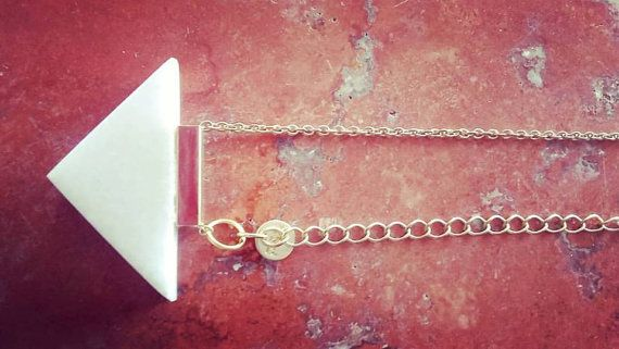 White Marble Necklace in golden metal chain and by Marblestsoukli