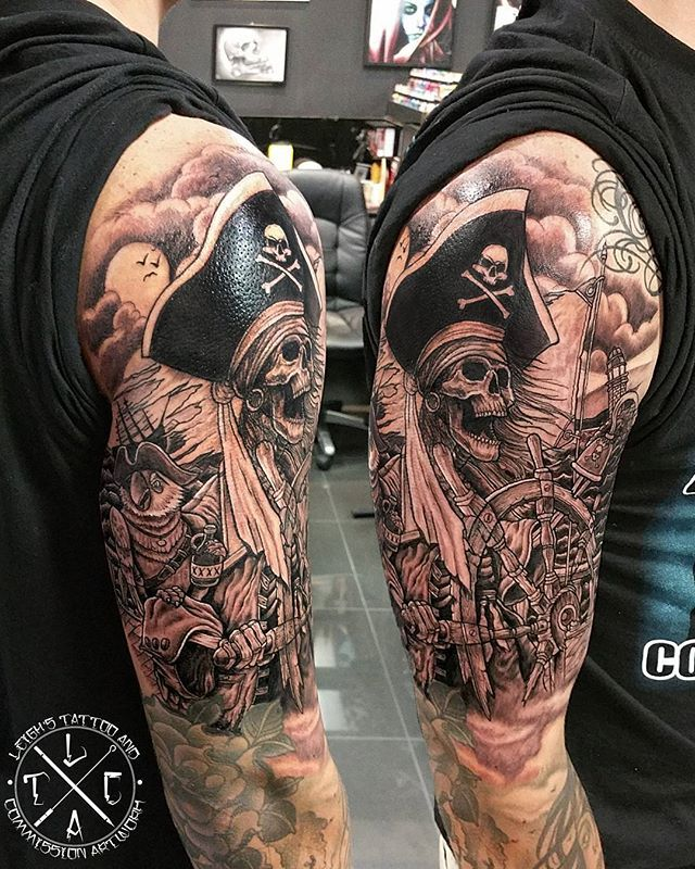 Pirate skull captain www.facebook.com/leighstca @leigh_tattoos @loco_tattoo #locotattoo #robina #goldcoast #tattoo #tat #tats #tattooedgirls #girlwithtattoos #tattooist #tattooartist #tattoo #tattoos #tattooart #ink #inked #tattooedguys #guyswithtattoos #follow #followme #tagsforlikes #bestoftheday #greywash #drpickles #hushanesthetic #swashdrive #fusion #fusionink #skulltattoo #piratetattoo