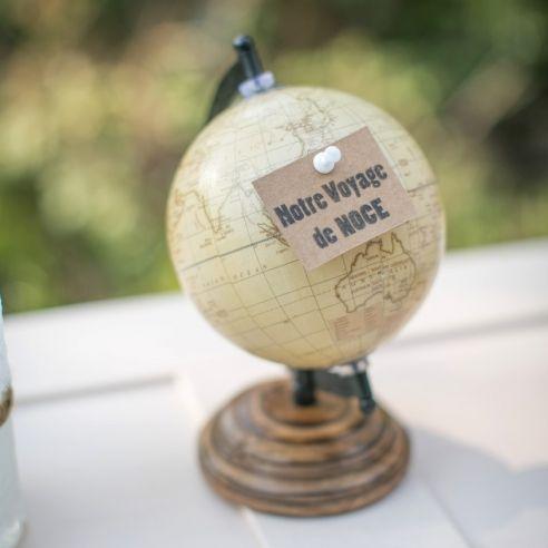 """Globe vintage sepia """"Voyage de noce"""""""
