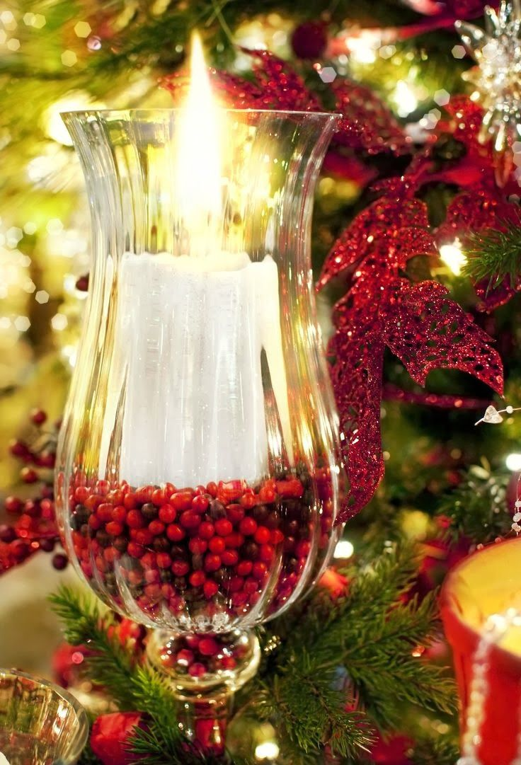 Christmas Candle Ideas- use any glass container you have & fill with fresh  cranberries- how easy is that!