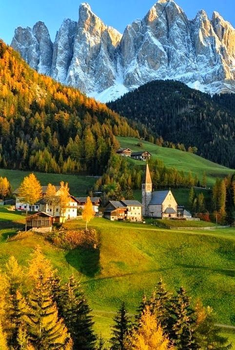 Autumn in Dolomites, Italy: