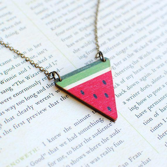 Watermelon Necklace, Fruit Jewellery, Wood, Nickel Free on Etsy, £14.00