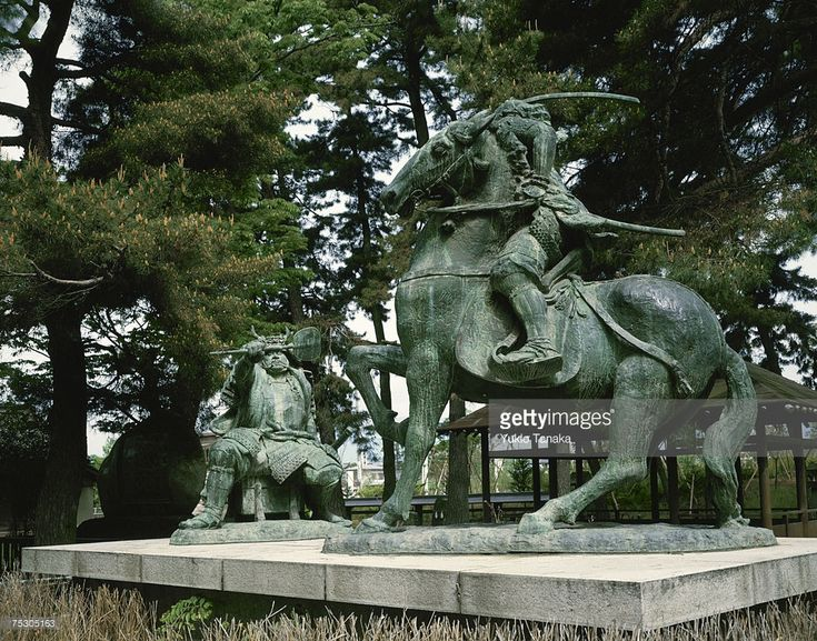Japan, Nagano Prefecture, Nakajima, Uesugi Kenshin, Takeda Shingen, Statues in park