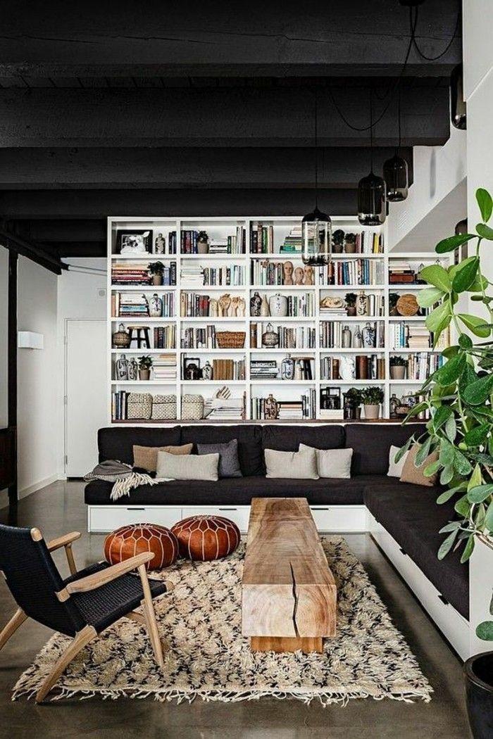loft et associé, meuble tv industriel pas cher dans le salon moderne