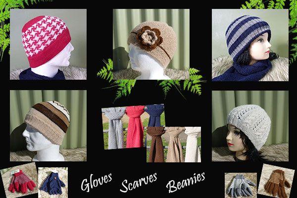 Beanies, Scarves and Gloves, made from lovely and soft alpaca, available at Nevalea Alpacas  www.nevaleaalpacas.co.nz