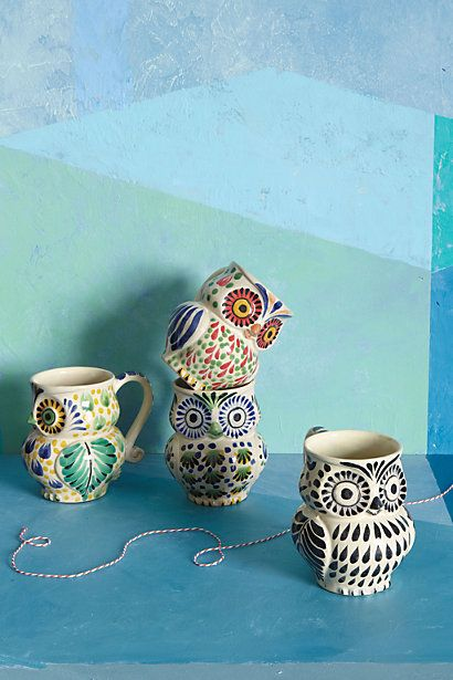 """Anthro is one of my favorite stores, I love their unique handcrafted home items!This owl mug is perfect for AXO's (zeta upsilon) new owl family line :D      By Gorky Gonzales, Earthenware  Hand wash  10 oz, 4.25""""H, 3"""" diameter, Imported"""