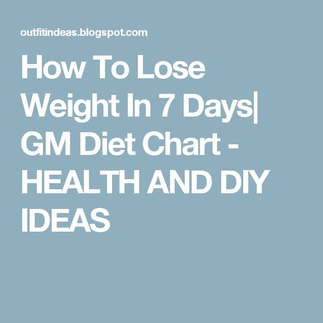 How To Lose Weight In 7 Days Gm Diet Chart Health And Diy Ideas