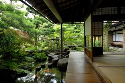 Hallway of a traditional Japanese house. What a view!