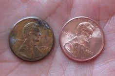 If you wash a penny with baking soda, vinegar and salt you can clean the penny to make it look just like new.