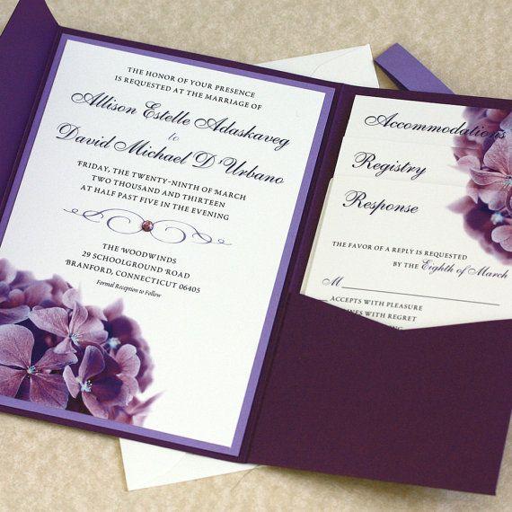 Purple Hydrangea Wedding Invitation Sample by willowglenstationery
