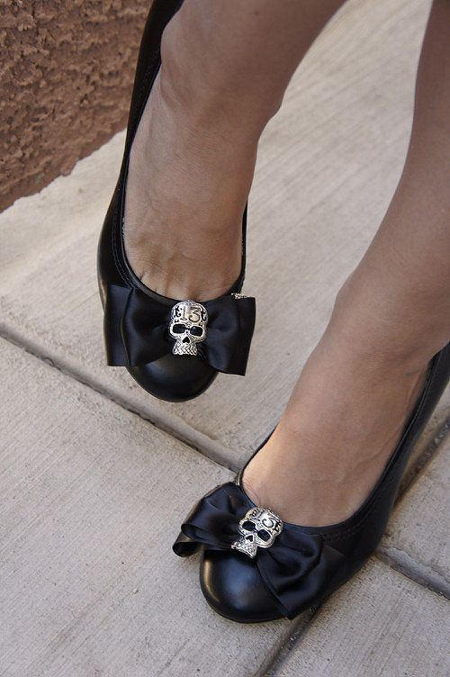 Olivia Paige  Black satin Bow Sugar skull by Rockabillybaby2010, $10.00