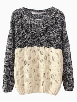 Cute color blocked sweater for Fall
