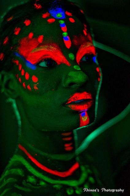 Tribal neon fluro Face and Body Paint - ✯ www.pinterest.com/wholoves/Body-Art ✯ #BodyArt