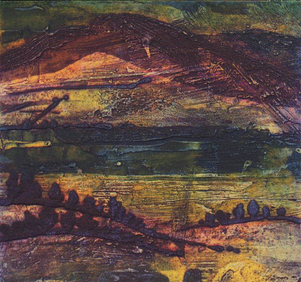 Tranquil Dusk, Collagraph, 23x23cm by Janine Denby