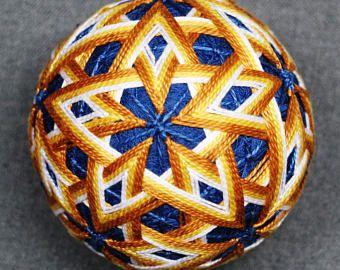 3 Inch Diameter Japanese Temari Embroidered Ornamental Ball